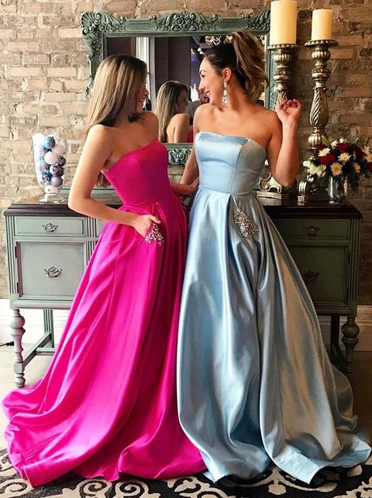 fashion fuchsia strapless long prom dresses, stunning blue satin prom dresses with pockets, elegant party dresses with beading