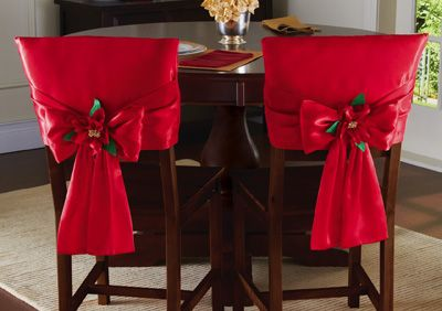 christmas chair covers | Red Holiday Bow Dining Chair Back Covers from Collections Etc.