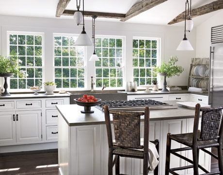 Kitchen with a view - I like all the light in this kitchen