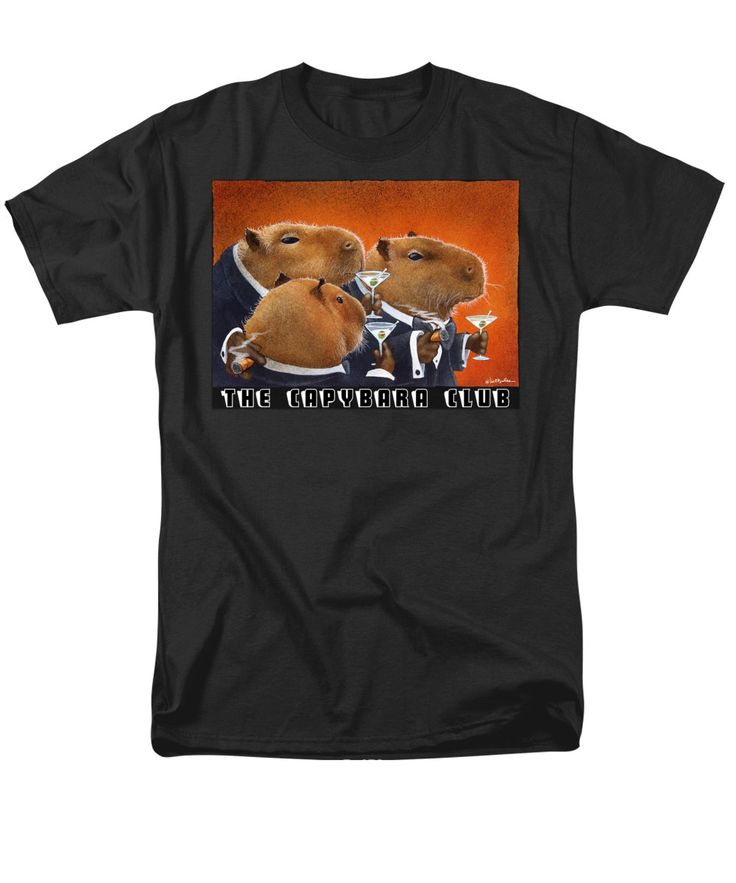 Purchase an adult t-shirt featuring the image of The Capybara Club by Will Bullas.  Available in sizes S - 4XL.  Each t-shirt is printed on-demand, ships within 1 - 2 business days, and comes with a 30-day money-back guarantee.