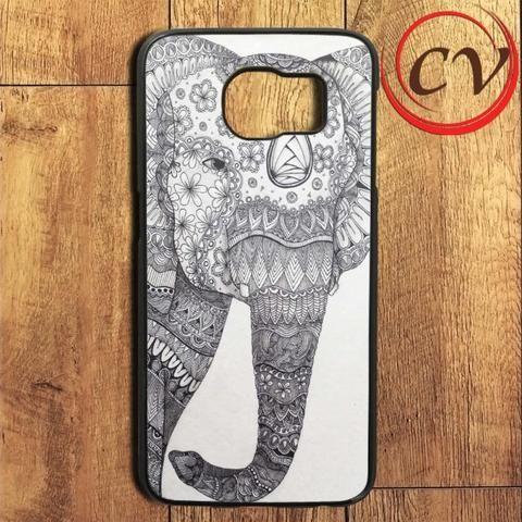 White Black Elephant Aztec Art Samsung Galaxy S6 Edge Plus Case