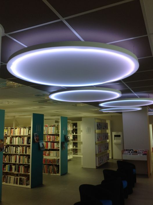 Mirodal extra large pre stretched ceiling panels acoustical luminous and decorative