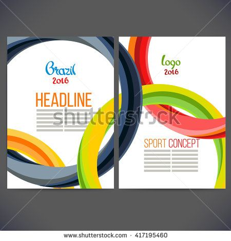 Vector template design strips of colored rings and waves.Concept sport brochure, Web sites,page,leaflet, logo Brazil 2016 and text separately. Sport concept banners with symbols of sports competitions - stock vector