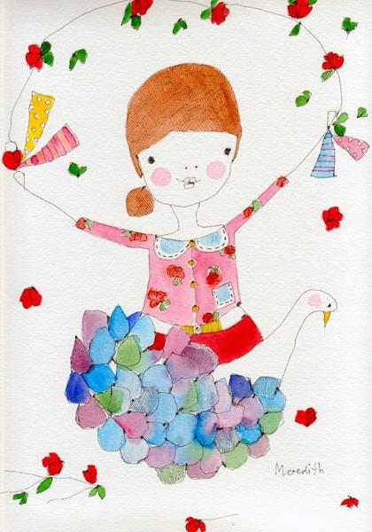 meredith gaston:   Ruby Rosebud with Wild Swan  DETAILS:  Dimensions: 24 x 32cm…