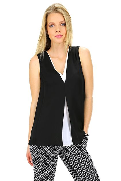 Michael Kors - Top - Abbigliamento - Top in seta con scollo a V, senza maniche.La la nostra modella indossa la taglia /EU XS. - BLACK - € 225.00
