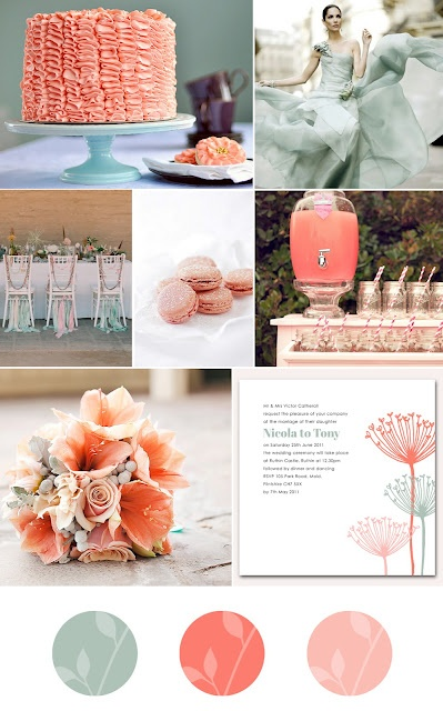 Coral and sea green wedding inspiration board