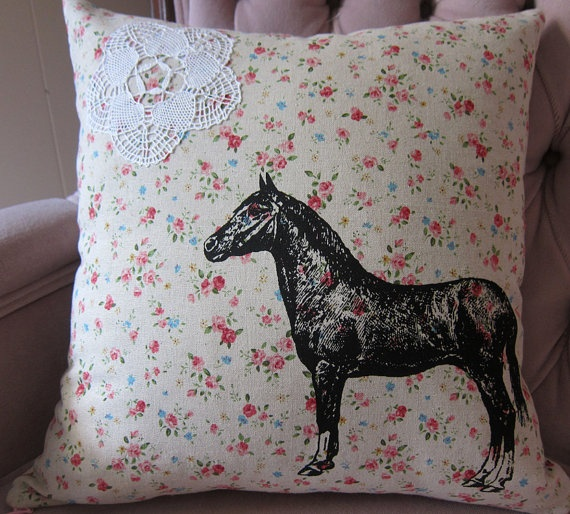 Pillow+Cushion+Cover+Horse+and+Lace+on+by+TrackandFieldDesigns,+$34.00
