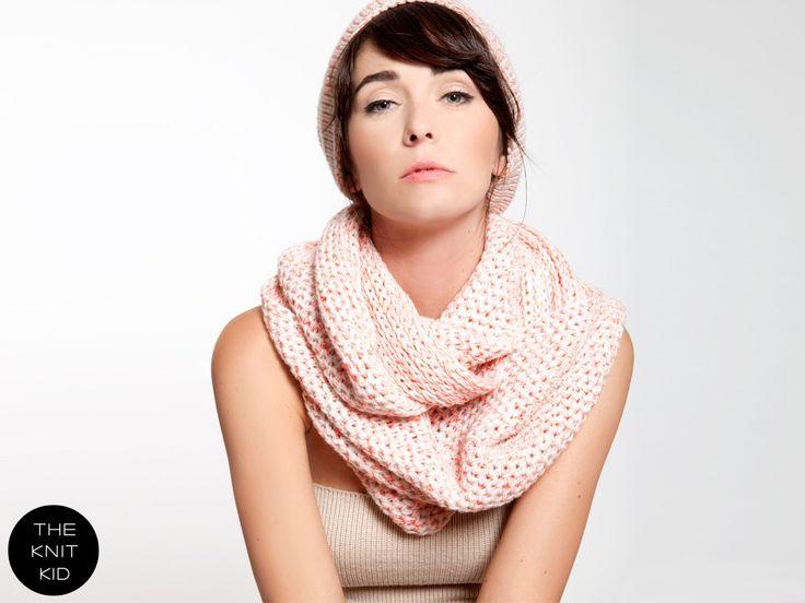 мерино бесконечность шарф бежевый белый красный неоновый розовый THEKNITKID