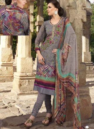 Graceful Grey Thread Work Digital Print Viscose Churidar  Suit http://www.angelnx.com/Salwar-Kameez/Churidar-Suits