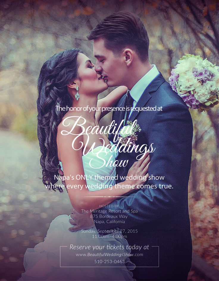 Beautiful Weddings Show at Napa's gorgeous Meritage Resort and Spa | Sunday, Sept 27th 2015. 50% off ticket when you use promo code BEAUTY at www.beautifulweddingsshow.com