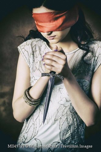 Black Sad Girl Wallpaper Blindfolded Woman With A Daggger Photography Portrait