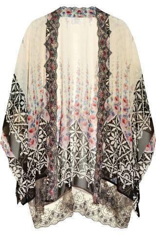 Anna Sui | Lace-trimmed silk-chiffon kimono jacket | NET-A-PORTER.COM