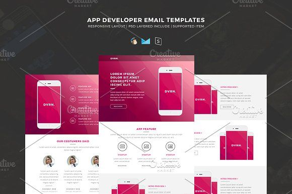 Responsive HTML Email Templates by Shadiq Jaya  on @creativemarket