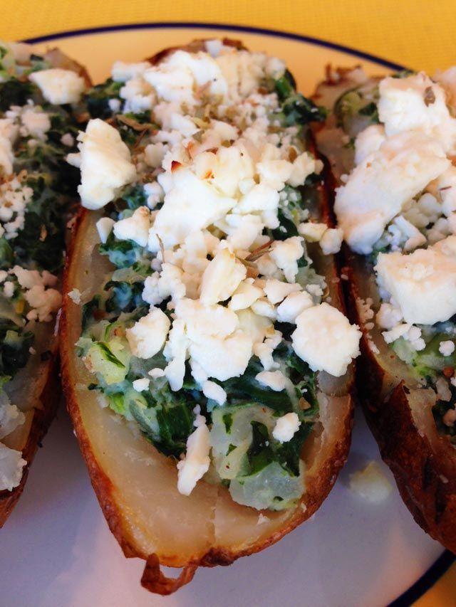Greek Style Stuffed Potato Skins! | stuffed potatoes | Pinterest