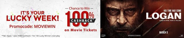 Paytm offers two deals     one is you get a chance to win 100% cash back on tickets.     Another o...