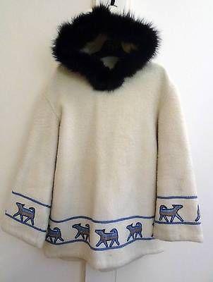 Auth Vtg Inuit Eskimo Canada Anorak Wool Fox Fur Trim Hood Jacket Coat_L/XL