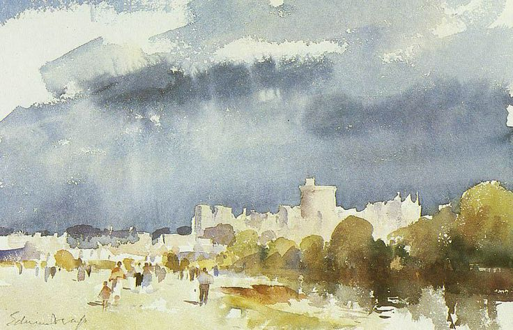 Edward Seago (1910 — 1974, UK) Storm clouds over Windsor. watercolor.
