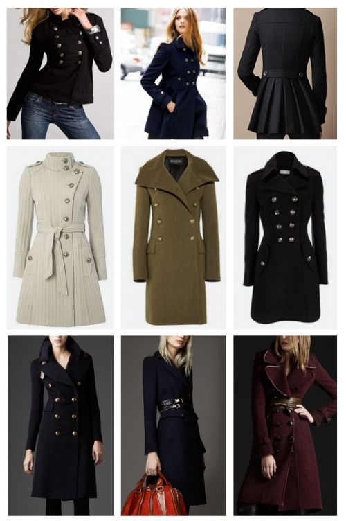 Designer MILITARY JACKETS FOR WOMEN | THESE PICS SHOW THE DIVERSITY IN MILITARY COATS RANGING FROM DRESS COATS TO CASUAL SHORT JACKETS.
