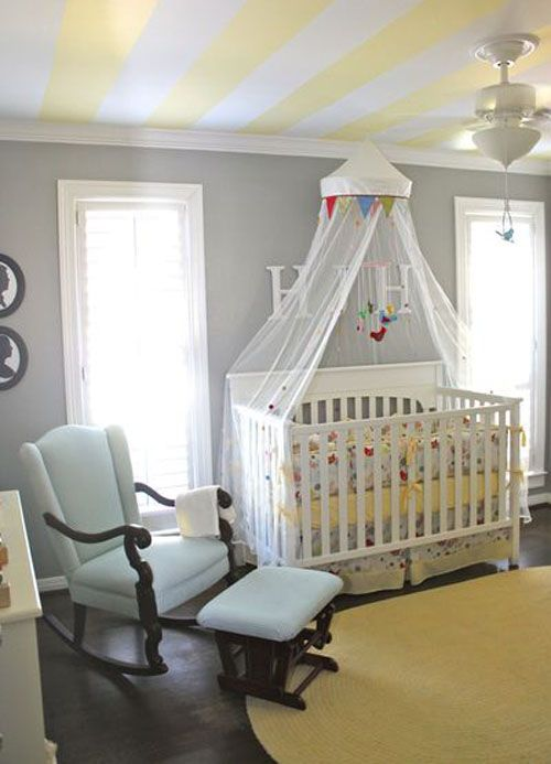 love the stripes on the ceilingYellow Stripes, Rocks Chairs, Rocking Chairs, Colors, Gray Walls, Baby Room, Painting Ceilings, Nurseries Ideas, Stripes Ceilings