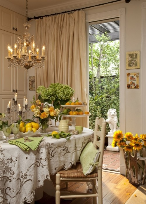 Yes,it's fussy, but I love this tablecloth, chandelier and the beige wall color.