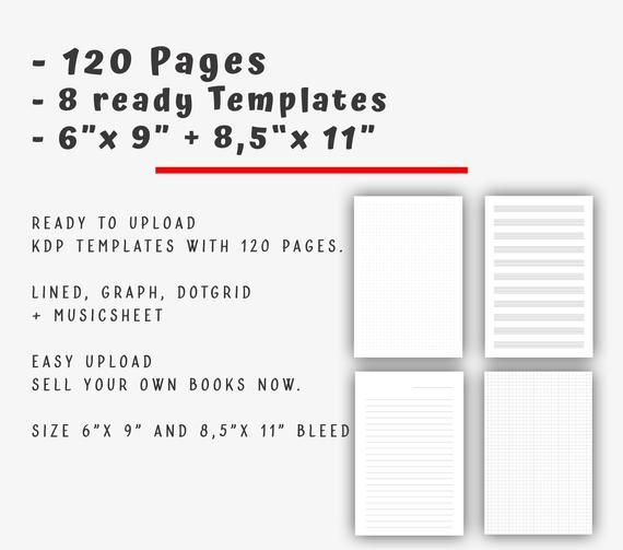 8 X 120 Pages 6 X 9 And 8 5 X 11 Templates For Kdp No Content Templates Ready Kindle Direct Publishing Book Interior Starterset Create Your Own Book Kindle Direct Publishing Templates