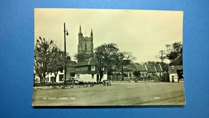 Real Photo Vintage Postcard of All Sanit's Church in Lydd Kent England