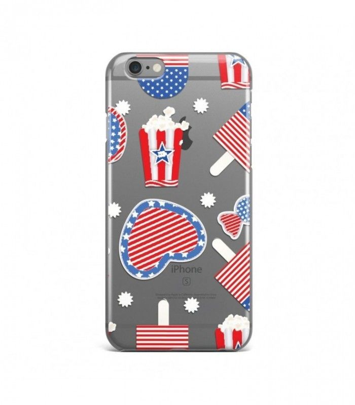 Snack and Heart American Pattern Clear or Transparent Iphone Case for Iphone 3G/4/4g/4s/5/5s/6/6s/6s Plus - USA0075 - FavCases