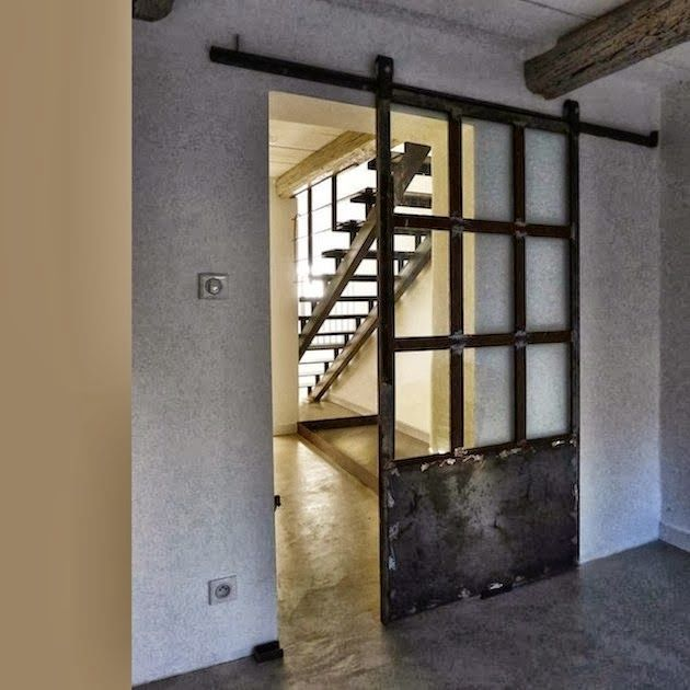 Sliding door partition for Tristan's bedroom/den downstairs.