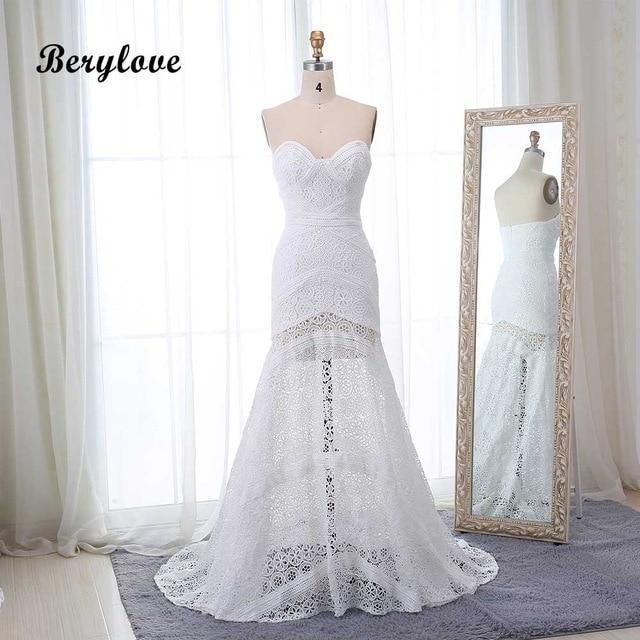 284ade6b69 Sexy Boho Beach Ivory Lace Mermaid Wedding Dresses 2019 Sweetheart ...
