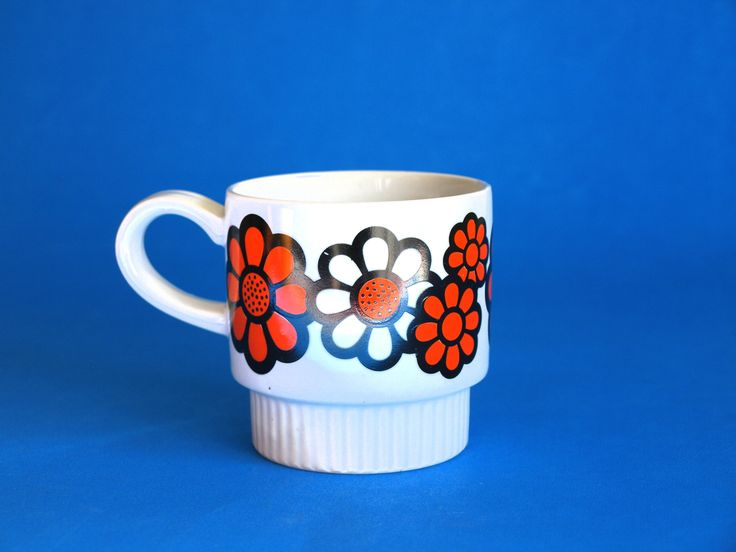 Retro Flower Power Psychedelic Mug - Vintage Daisy Sunflower Orange Coffee Cup - Made in Japan by FunkyKoala on Etsy