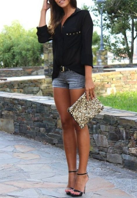 Summer fashion / denim mini shorts   black shirt