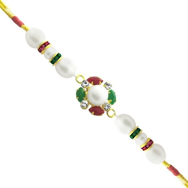 Jpearls Fresh Water Pearl Rakhi with Diamond, Red, Green and Pink Stones  #rakshabandhan #jewellery #rakhigifts #rakhis #brother