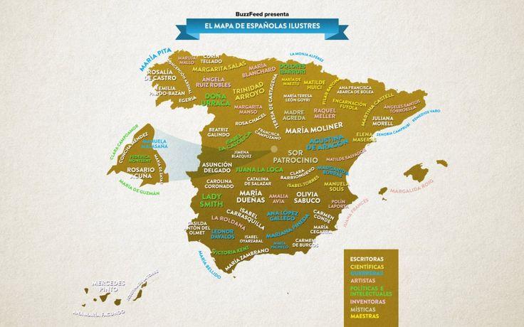 Mapa de las #mujeres #ilustres de España
