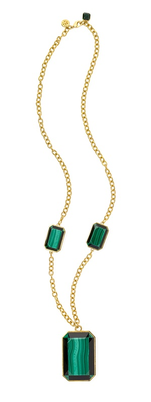Tory Burch Pietra Doro Long Necklace fabulous coloroftheyear emerald