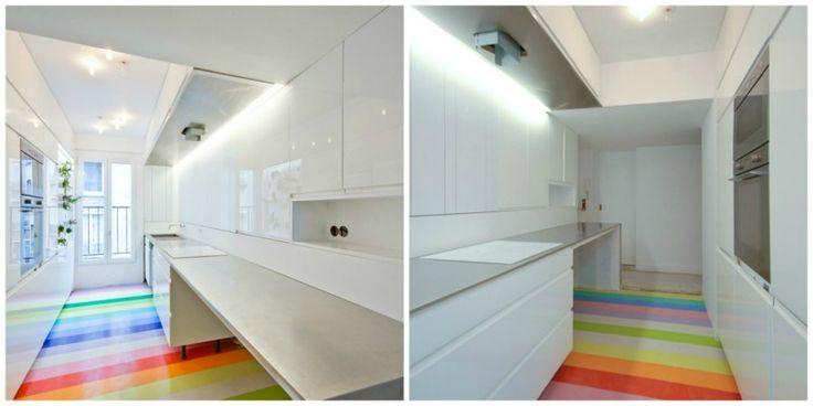 """Uma cozinha de sonho em Paris. Em Paris a SABO Project fez uma cozinha de sonho para quem quer andar nas nuvens, sobre um arco íris…a cozinhar """"manjares dos céus"""", certamente. Amei o piso em faixas de borracha, a limpeza … Continue lendo →"""