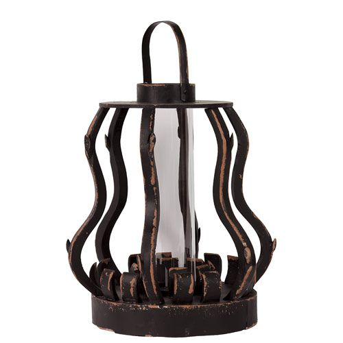 Black Wooden Thrice Curved Lantern Urban Trends Collection Outdoor Candle  Lanterns Candle