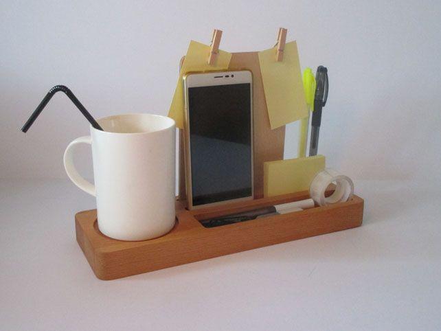 Wood Desk Phone Stand Wood Phone Holder Desk Tray Desktop Organization