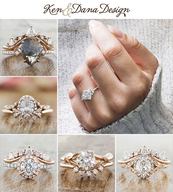Unique custom diamond engagement rings paired with matching wedding bands. by Ken & Dana Design in NYC.