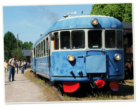 "Historic dieseltrain ""Lättähattu"" from the 50's and 60's now operating during the summer season as a museum train between Helsinki and Porvoo, Finland."