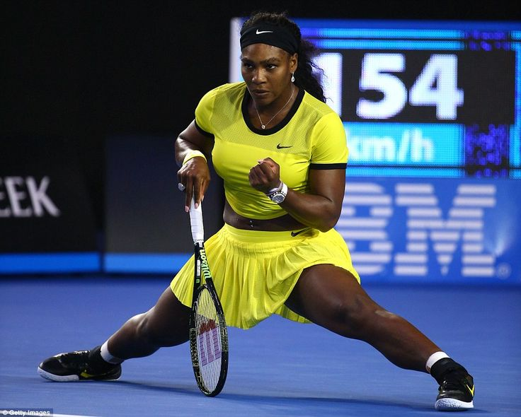 World No 1 Williams shows off her flexibility as she celebrates winning a difficult point at the Rod Laver Arena