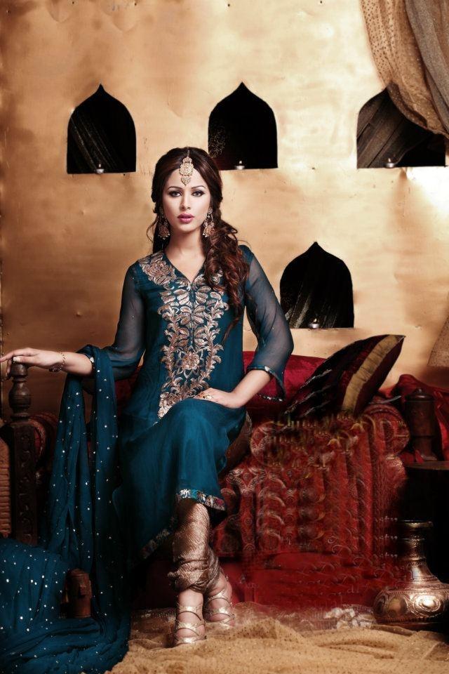 Latest Pakistani Indian formal Shalwar Kameez with Trouser / Churidar Pajama FW 27
