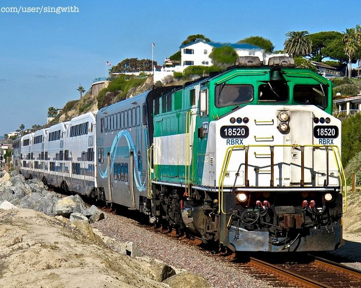 Metrolink Railroad, EMD F59PH diesel-electric locomotive in San Clemente, California, USA