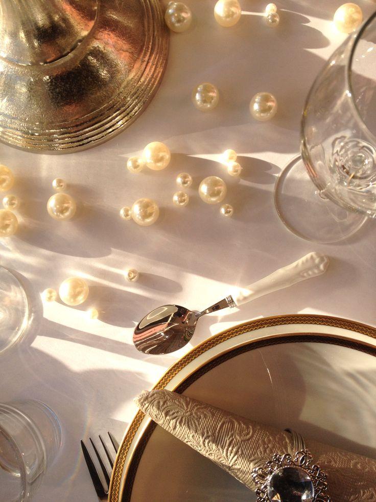 #Tischdekoration mit Perlen für die Hochzeitsfeier - #Wedding