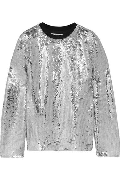 MSGM - Sequined Mesh Top - Silver - IT46