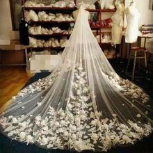 3*3 Metros Branco/Marfim Véus De Noiva Catedral Longo Appliqued Flor Véu De Noiva com Pente Acessórios Do Casamento Mantilla E25(China (Mainland))