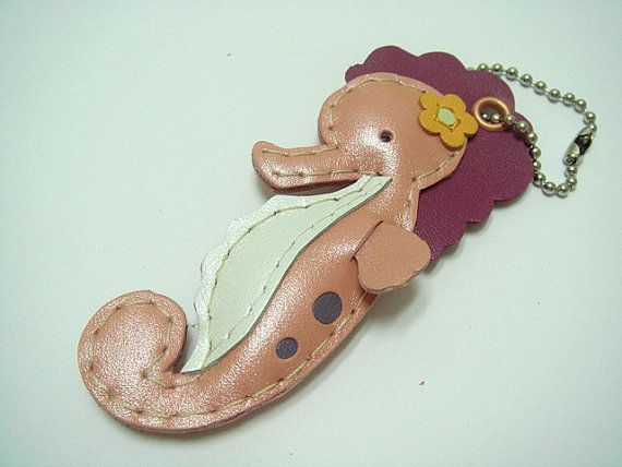 Leather Keychain Coral the Seahorse leather charm by leatherprince, $22.90