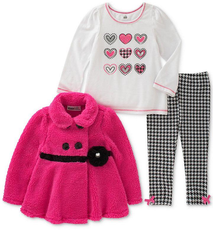 Kids Headquarters 3-Pc. Houndstooth Jacket, T-Shirt & Leggings Set, Toddler Girls (2T-5T)