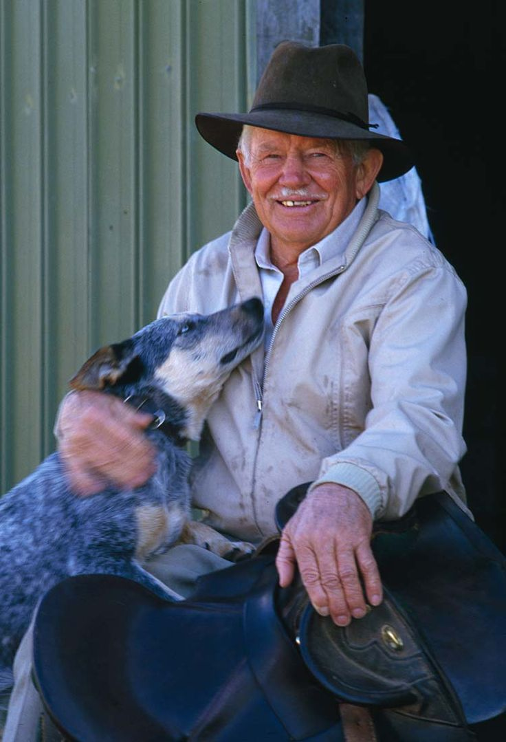 Reginald Murray RM Williams AO Officer of Australia • founder if the iconic Australian outback outfitters brand and company with an Australian Blue Healer dog as a companion • Australian mateship