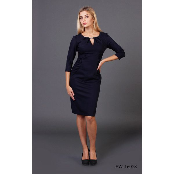 Office Pencil Midi Dress Office Dress in Dark Blue Navy Color (4.415 RUB) ❤ liked on Polyvore featuring dresses, black, women's clothing, navy dress, black cocktail dresses, navy blue dress, black pleated dress and 3/4 sleeve dress