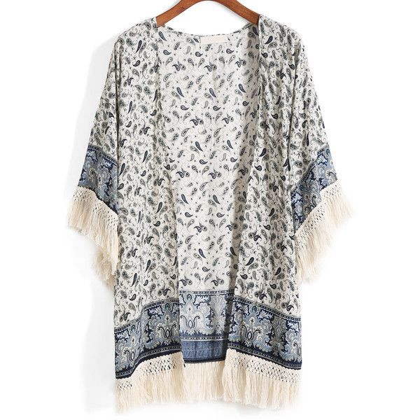 With Tassel Tribal Print Kimono featuring polyvore, fashion, clothing, intimates, robes, kimono, cardigans, tops, outerwear, blue, tassel kimono, kimono robe, blue kimono, tribal print kimono and blue robe